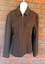J Crew Brown Wool Jacket Large Full Zip 4 Pockets Chocolate Coat Warm Pe... - $19.60