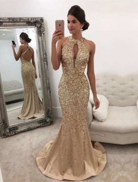 2018 sexy sequins beaded prom dress mermaid backless evening dress,HH027