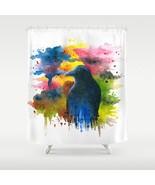 Shower curtains art shower curtain Bird 71 Crow Raven art painting by L.... - $68.99
