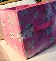 Disney Pink cherry blossom floral Collapsable storage cube with zipper bottom - $1.97