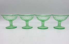 "4 VTG Green Imperial Glass Vaseline DIAMOND QUILTED SHERBET 3-1/4"" Tall ... - $21.85"