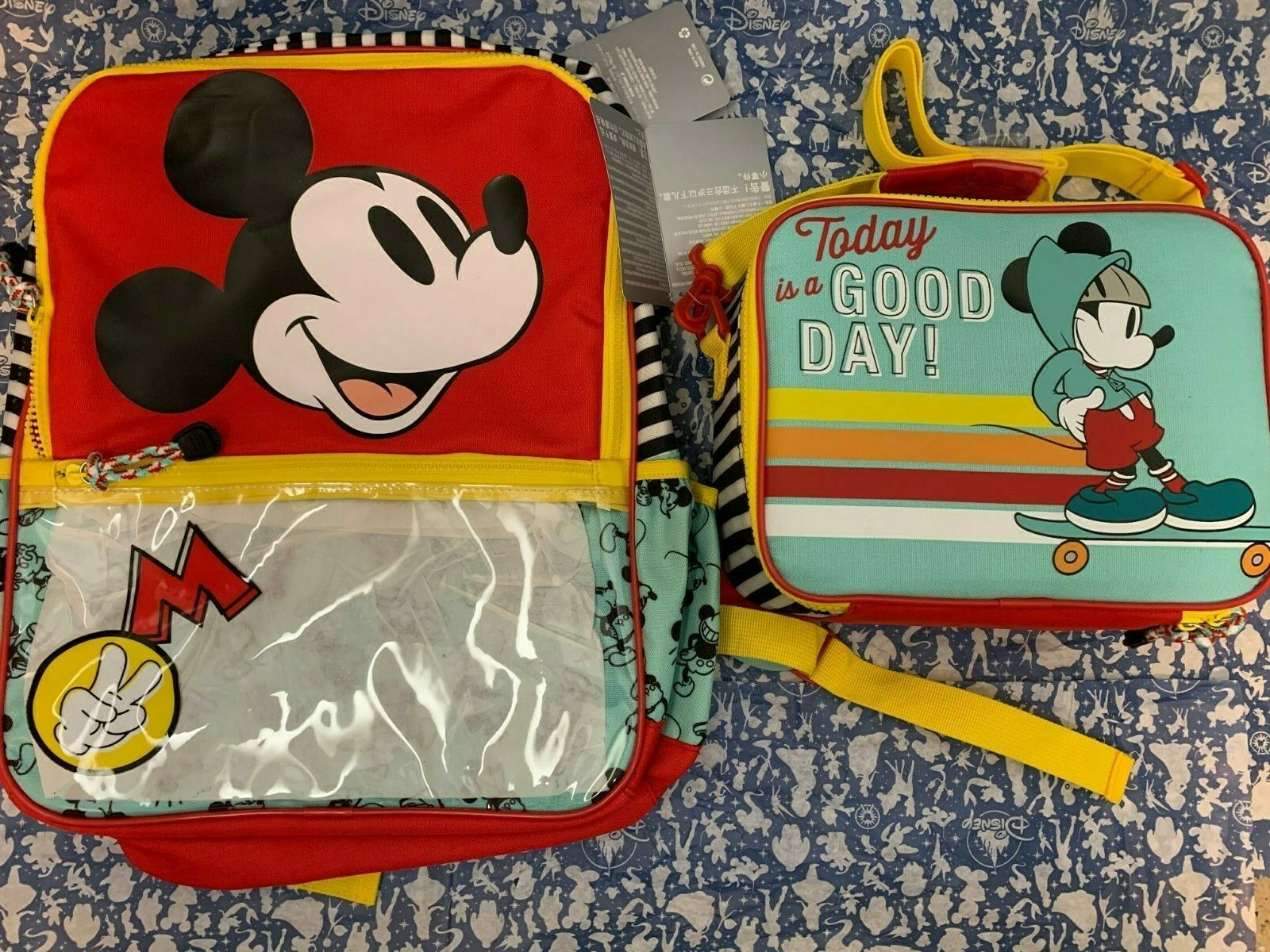 Primary image for Brand New Disney Mickey Mouse School Backpack with Matching Insulated Lunch Tote