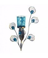 Unique Modern Peacock turquoise  jewels Hanging Candle Holder Wall Sconce  - $18.27 CAD