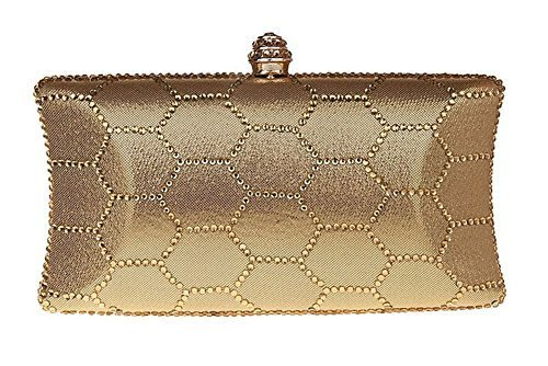 New Rhinestone Quilted Clutch Evening Bag Wedding Package-Gold