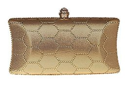 New Rhinestone Quilted Clutch Evening Bag Wedding Package--Gold
