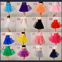 Retro 50's Style Pick Color Knee Length Full Layerd Swing Underskirt Petticoat