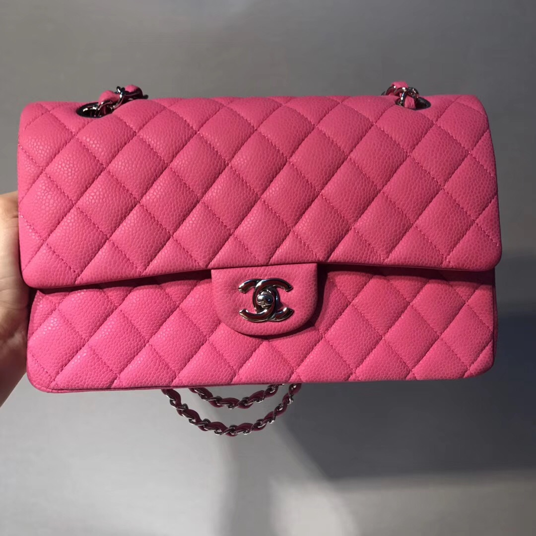 AUTHENTIC CHANEL PINK QUILTED CAVIAR MEDIUM CLASSIC DOUBLE FLAP BAG SHW