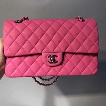 AUTHENTIC CHANEL PINK QUILTED CAVIAR MEDIUM CLASSIC DOUBLE FLAP BAG SHW image 2