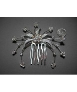 Rhinestone Hair Comb Wedding Hair Clip Crystals Flower Silver Plated - $11.99