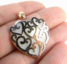 "10K Yellow GOLD Scroll HEART MOP Pendant size 1.25"" - $164.03"