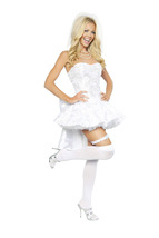 Sexy 4PC Fantasy Bride Halloween Costume W/WO PETTICOAT THIGH HIGHS S M L - $72.00+
