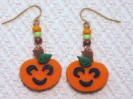 Halloween Happy Pumpkin Orange Beaded Handmade ... - $2.50