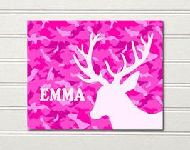 Camo Deer Art Print Girls Pink 10 x 8 Emma ~ Ella ~ Ellie ~ Eliana ~ Eva... - $8.85