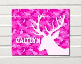 Camo Deer Art Print Girls Pink 10 x 8 Caitlyn ~... - $8.85
