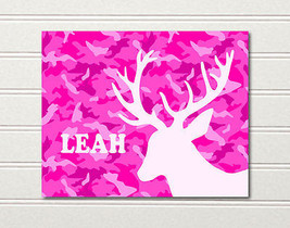 Camo Deer Art Print Girls Pink 10 x 8 Leah ~ Li... - $8.85