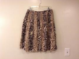 Charter Club 100% Cotton Light/Dark Brown Striped Floral Pattern Skirt, size 12