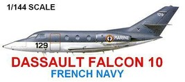 1/144 scale Resin Model Kit Dassault Falcon 10 French Navy - $16.00