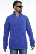 Men`s Hand Knitted Mohair  SWEATER  Shawl Collar Pullover  by SSEu - $198.55