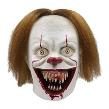 Halloween Scary Clown Mask Full Headpiece Brown Hair Funny Latex Party D... - £25.71 GBP