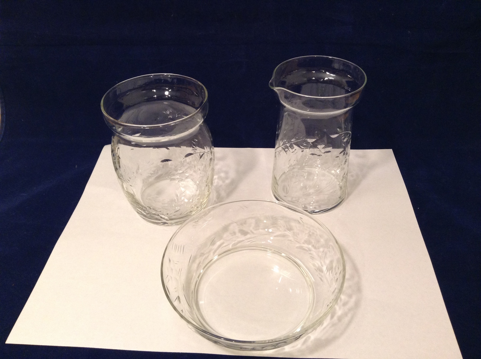 Vintage Thin Glass 3 Pieces set: Creamer, Sugar Bowl (or vase), Candy Dish