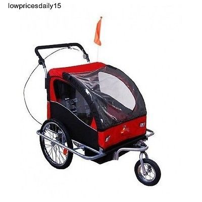 Child Bike Trailer 3-In-1 Bicycle Stroller Jogger Red Swivel Baby Carrier Cart