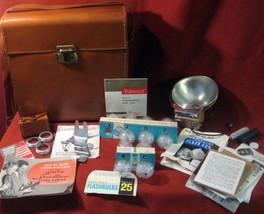 Polaroid Leather Case Sylvania Blue Bulbs Flash Bounce Adapter Lens Kit Vintage - $98.97