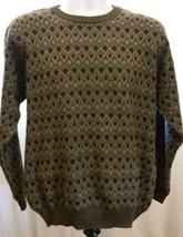 Robert Banks Sweater 100% Merino Wool Diamond Pattern Brown Gray Size L. - $23.05