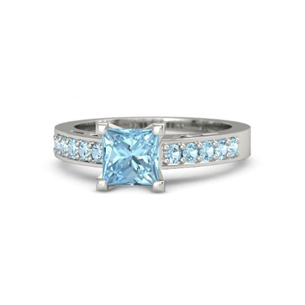 solid sterling silver solitaire with accents princess cut
