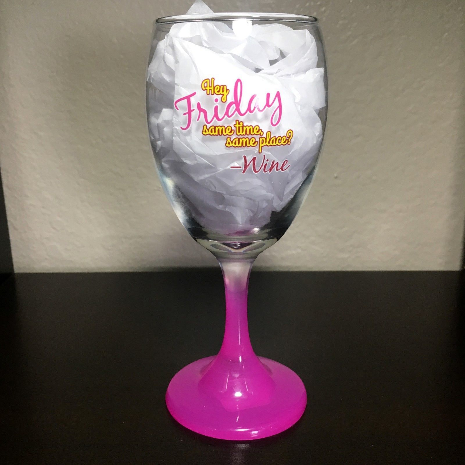 CRISTAR Happy Hour, More Awesome, Friday, 99 Problems 10 oz Wine Glass 4pc Set