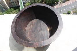 Antique Primitive Huge Hand Carved Wooden Bowl Decorative c.1890 Collect... - $346.49