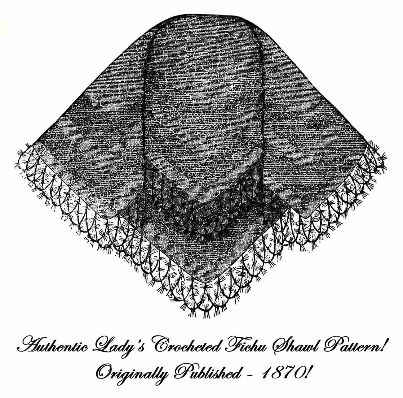 1870 Post Civil War Victorian Ladys Crochet Shawl Pattern Lacy Shoulder Wrapper