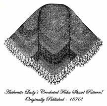 1870 Post Civil War Victorian Ladys Crochet Shawl Pattern Lacy Shoulder Wrapper - $5.77