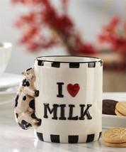 Set of 2 Cow Mugs Adorable Cow Clinging to Mug I Heart Milk - $16.82