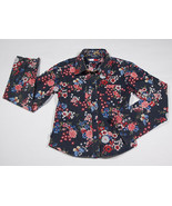 TOMMY HILFIGER GIRLS SIZE MEDIUM 8 TOP BLUE RED FLORAL FLOWERS BUTTERFLY... - $8.41