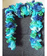 Blue and Green Varigated hand knit Ruffle scarf - $20.00