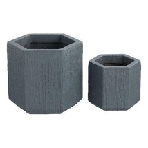 Mainstays Hexagon Textured Clay Planter, Set of 2, Steel Gray - $47.99