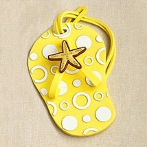 5 Yellow Beach Flip Flop Luggage Tags Favor Wedding Bridal Shower Gift S... - $17.80