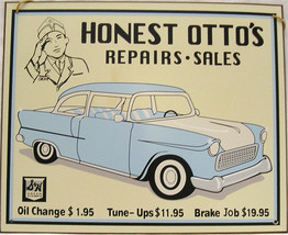 Honest Otto's Repairs Sales and Service  Car Mechanic Vintage Metal Sign - $17.95