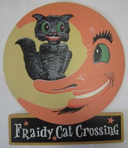 Fraidy Cat Crossing Black Cat and Halloween Moon Fall Pumpkin Metal Sign - $49.00