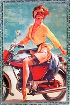 Harley-Davidson Red-Head Pin-Up Metal Sign - $30.00