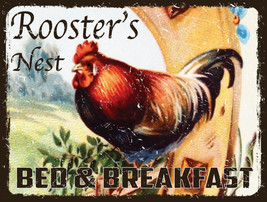 Rooster's Nest Breakfast Chicken Chick Country Farm Rooster Metal Sign - $15.95