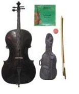Lucky Gifts 4/4 Size Black Cello,Bag,Bow+Rosin+Extra Strings for Replace... - $125.88