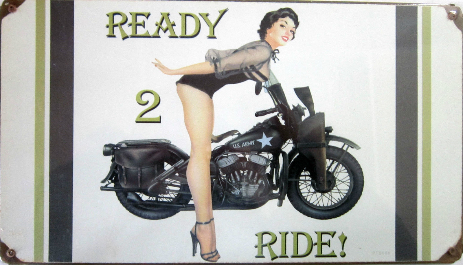"Ready 2 Ride  Metal Sign ( 14"" by 8"" )"