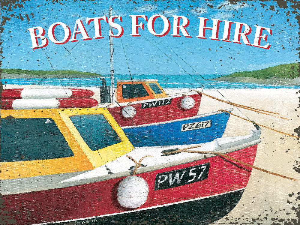 Boats for Hire Oceanside Water Sunshine Paradise Beach Retro Metal Sign