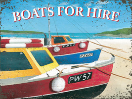 Boats for Hire Oceanside Water Sunshine Paradise Beach Retro Metal Sign - $16.95