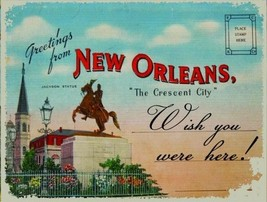 New Orleans Louisiana Jackson Statue Icon Tourist Postcard Travel USA Me... - $16.95