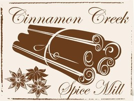 Cinnamon Creek Spice Mill Spices Food Baking Vintage Distressed Retro Me... - $23.95