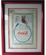 Original Circa Early 1930's Coca Cola Framed Advertisement 5 Cent - $500.00