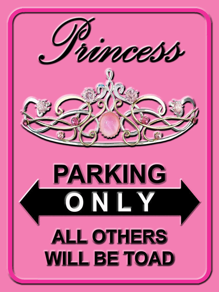 Primary image for Princess Parking Only Royalty Feminine Ladies Home Decor Metal Sign