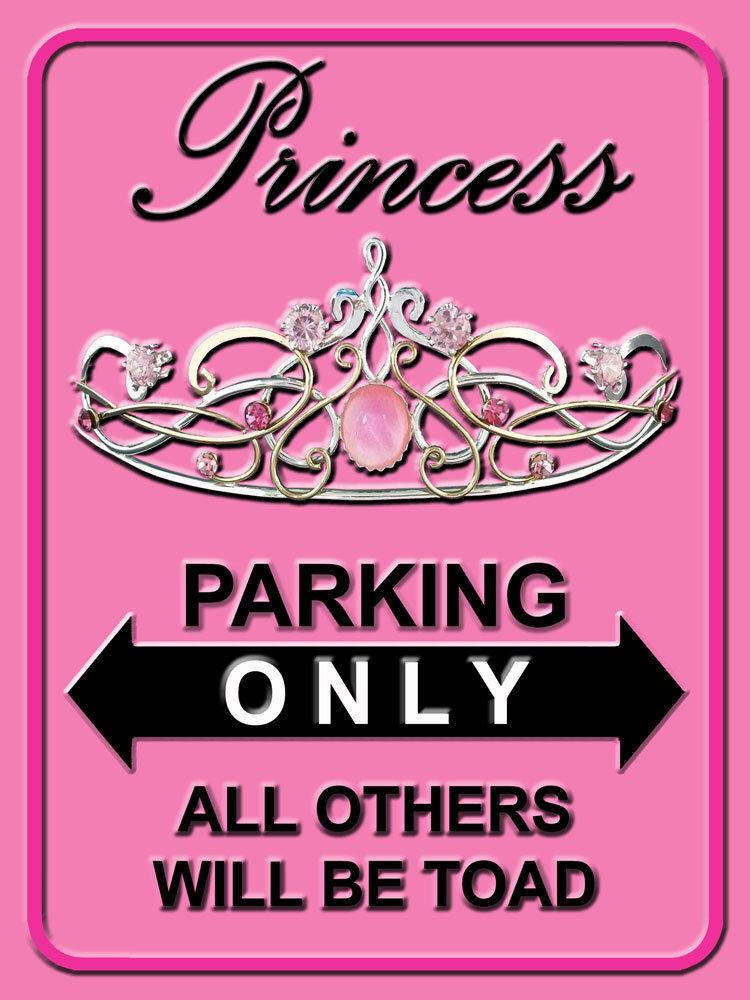 Princess Parking Only Royalty Feminine Ladies Home Decor Metal Sign